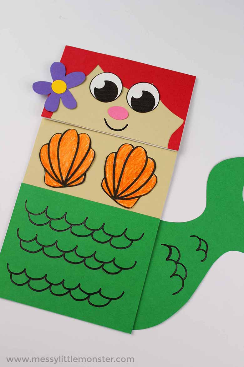 mermaid paper bag puppet. Paper bag crafts for kids. Under the sea theme activitiy ideas for toddlers and preschoolers.