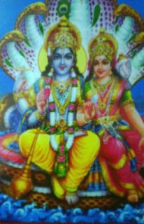 image showing Lord Vishnu with Goddess Laxami