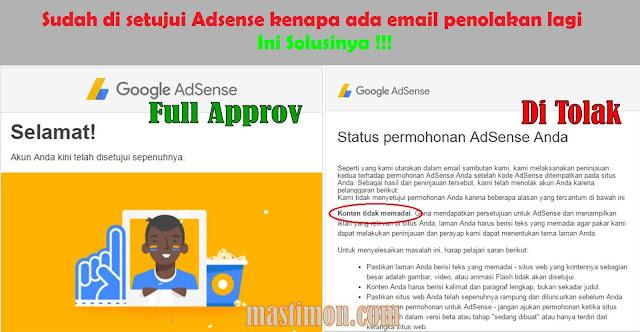Sudah di setujui Adsense kenapa ada email penolakan lagi | Ini Solusinya