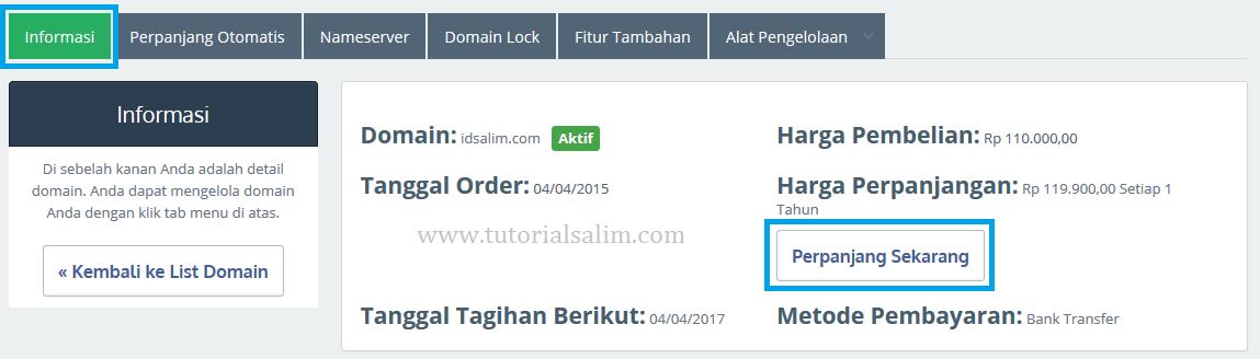 Cara Perpanjangan Domain