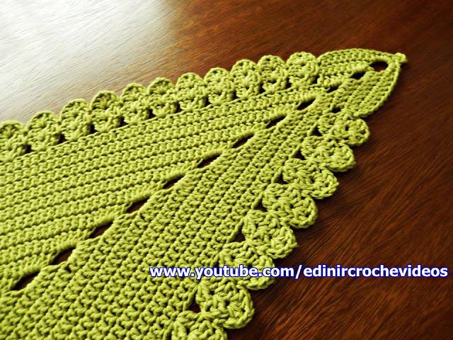 tapete folha de croche aprender croche canhotas curso de croche passo a passo com Edinir-Croche