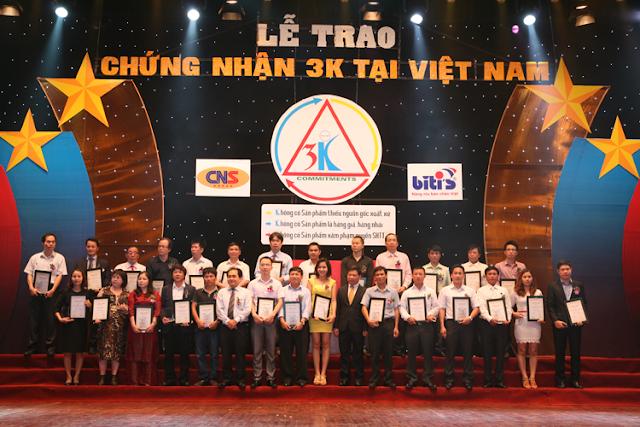 Hội sở hữu trí tuệ Việt Nam trao chứng nhận đạt tiêu chuẩn 3K