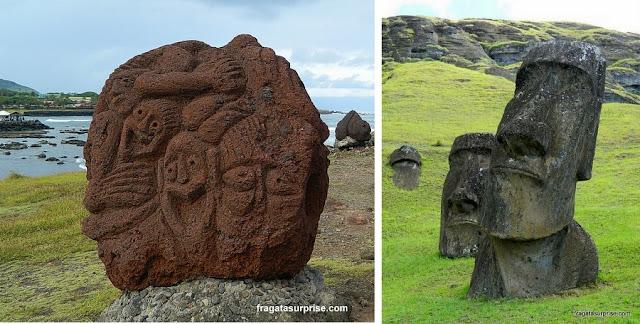 Moais e esculturas da Ilha de Páscoa