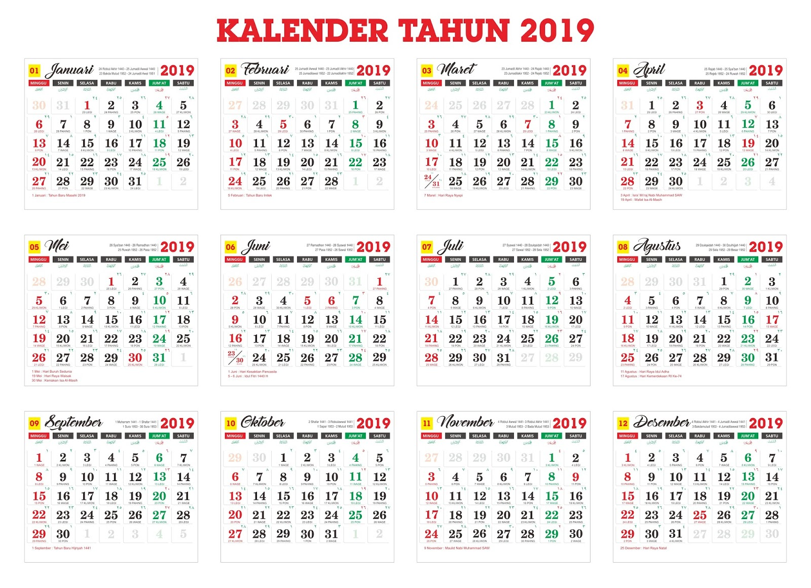 Download File Kalender 2019 Cdr