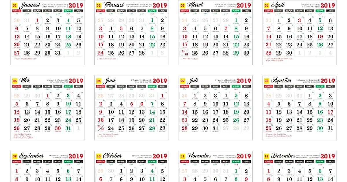 Download master kalender tahunan Tahun 2019 cdr - Download ...