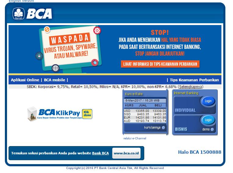 BCA INTERNET BANKING (KlikBCA Individual dan KlikBCA Bisnis)