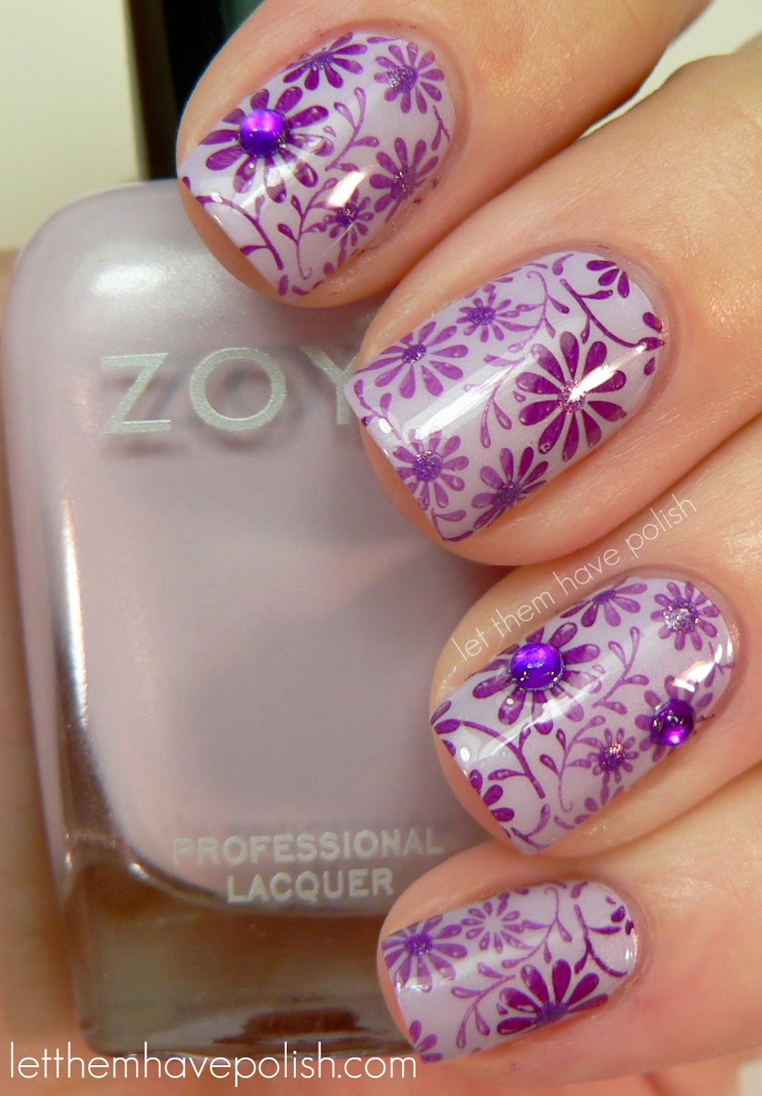 Floral Manicures For Spring And: Let Them Have Polish!: 31 Day Challenge! Day 6- Violet Nails