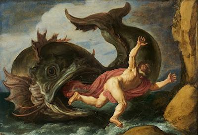 """""""Jonas e a Baleia"""" (1621) - pintura de Pieter Lastman (1583-1633) exposta no Museum Kunstpalast em Düsseldorf, Alemanha."""