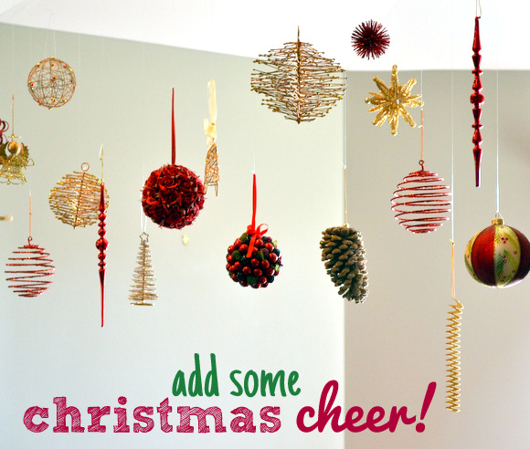 Add some Christmas cheer with floating ornaments.