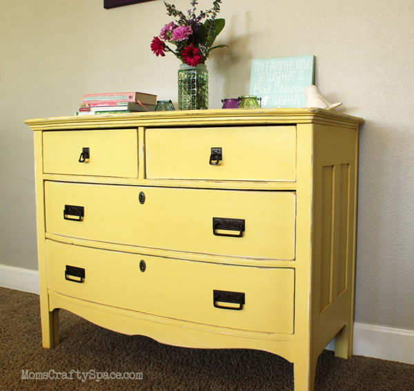 Vintage Yellow Painted Dresser Refinish Makeover At Momscraftye