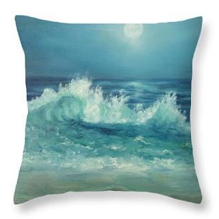 Coastal Home Decor Throw Pillow with Contemporay Beach Moon