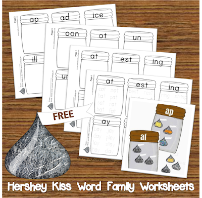 Hershey Kiss Word Family Worksheets