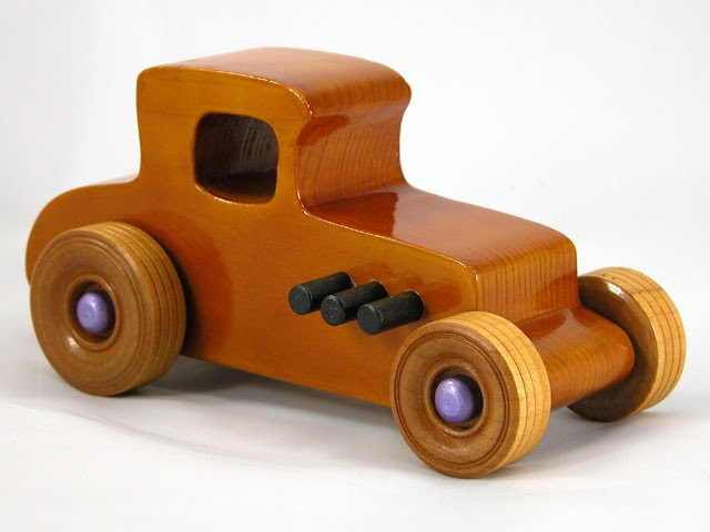 Right Front -  Wooden Toy Car - Hot Rod Freaky Ford - 27 Coupe - Pine - Amber Shellac - Metallic Purple Hubs
