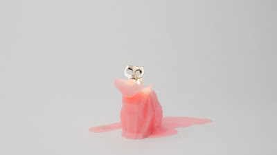 Melting Cute Kitty Cat Candle With Spooky Little Metallic