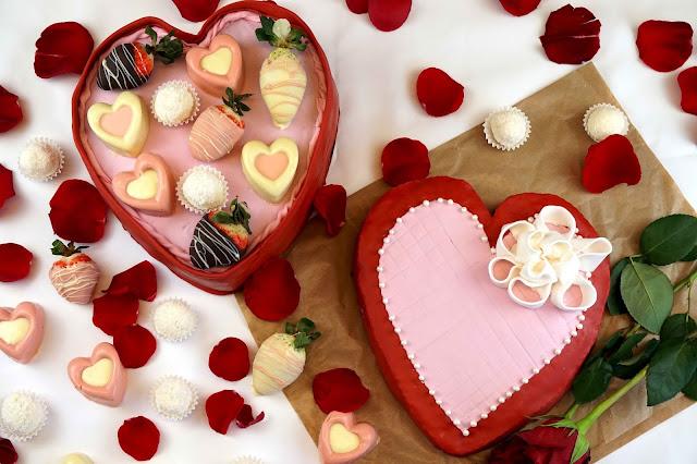tarta de caja de bombones de san valentin