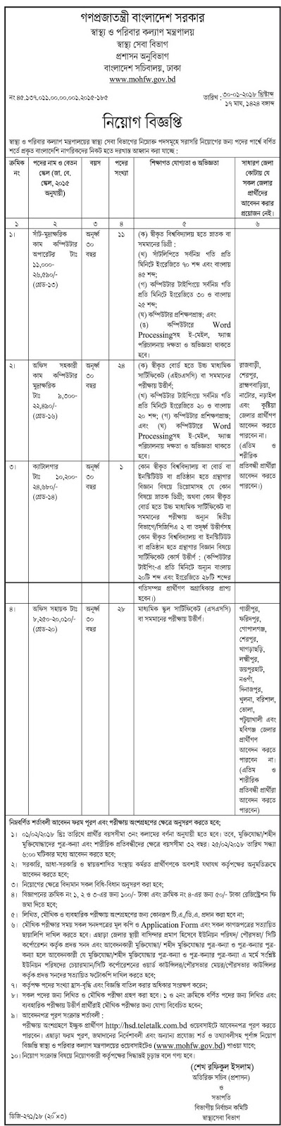 Ministry of Health and Family Welfare Job Circular 2018 www.mohfw.gov.bd 2