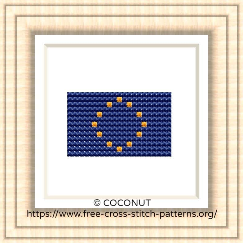 NATIONAL FLAG OF EUROPEAN UNION CROSS STITCH CHART