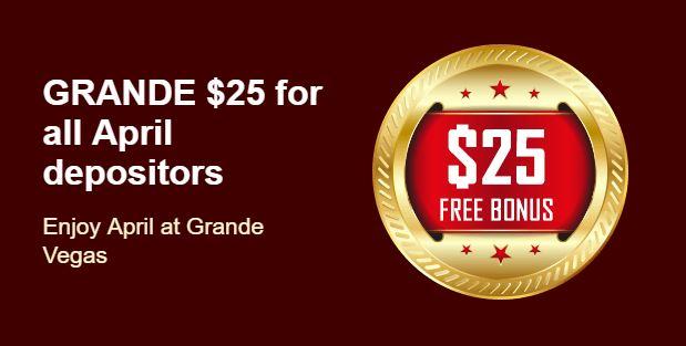 Grande Vegas casino $25 free April 2018.