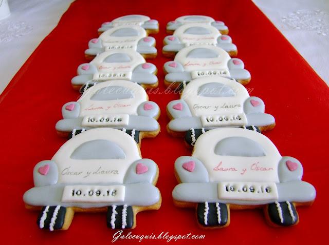 galletas de boda coches