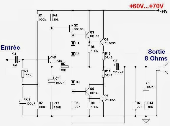 mosfet amplifier with mosfet for your build in electronic hobby