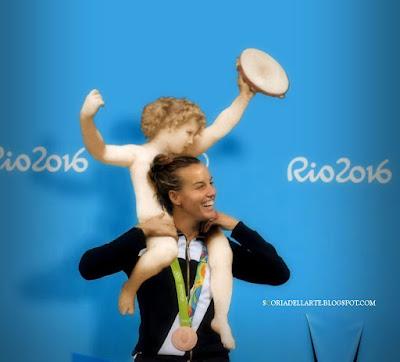 fotomontaggi olimpionici-Rio 2016-Tania Cagnotto-dipinti classici