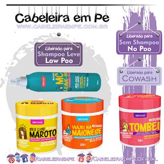 Linha Crush Máscaras Tombei (No Poo), Seu Liso Maroto, Viajei na Maionese e Spray MC Leave in (Low Poo)