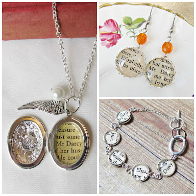 image pride and prejudice jewellery set two cheeky monkeys mr darcy necklace earrings bracelet literature jane austen