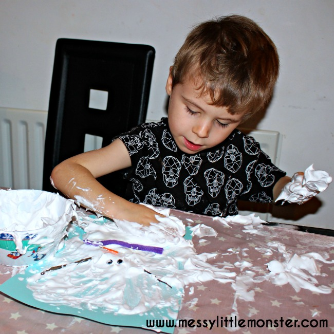 Puffy paint melted snowman craft for kids. Winter themed sensory activity idea.