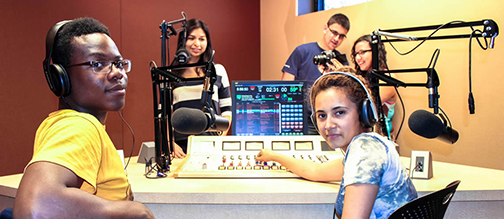 Image of SPOT 127 students in a recording studio
