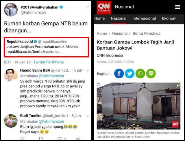 Jokowi Janjikan Perumahan untuk Milenial, Fahri Hamzah: Rumah Korban Gempa NTB Belum Dibangun