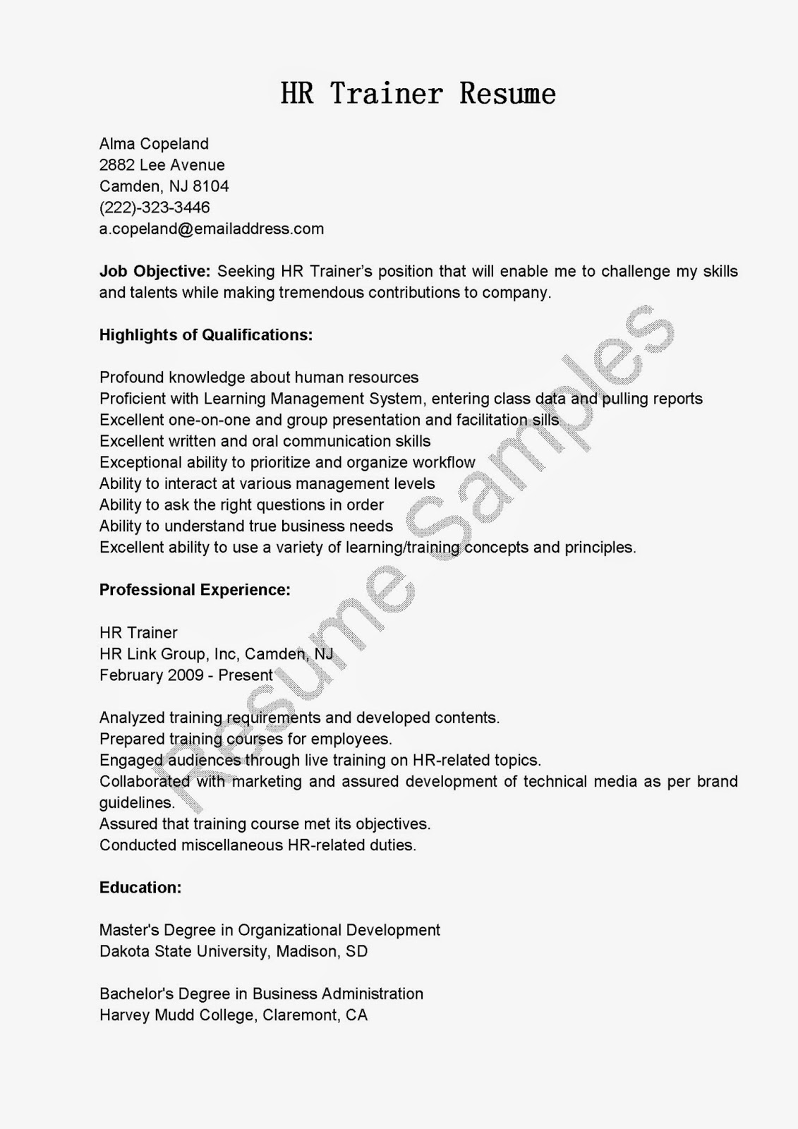 Sample Trainer Resume Resume Samples Hr Trainer Resume Sample