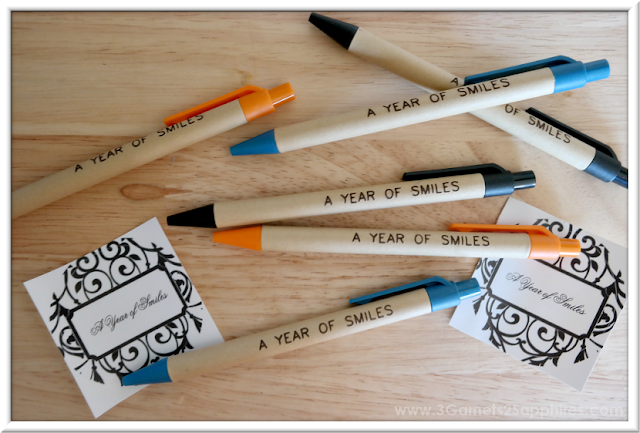 How to make 'A Year of Smiles' Mason Jar Gift with personalized pens and jar labels  |  3 Garnets & 2 Sapphires