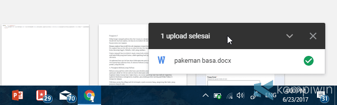 upload file ke google drive selesai
