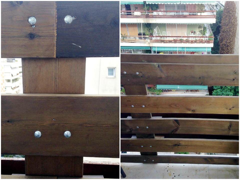 Ανακαίνιση μπαλκονιού, καινούργια ξύλινα κάγκελα