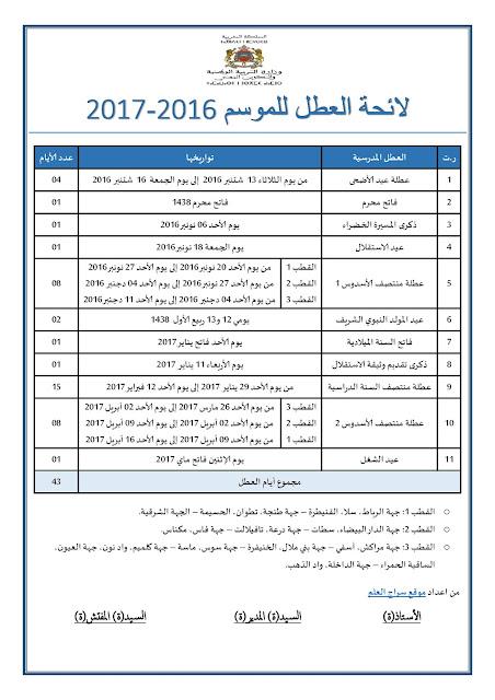 لائحة العطل الخاصة بالموسم الدراسي 2016 /2017