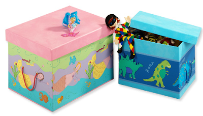 toy boxes with mermaids and dinosaurs