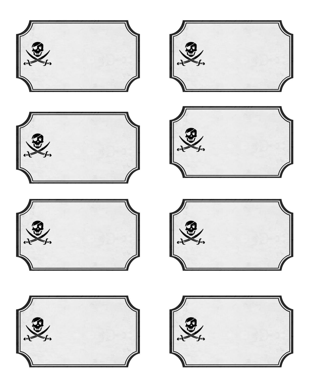 Free Printable Pirate Food Labels
