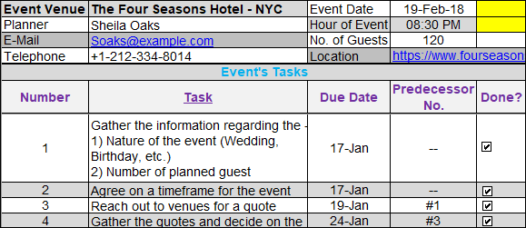 Party Event Planning Worksheet Template