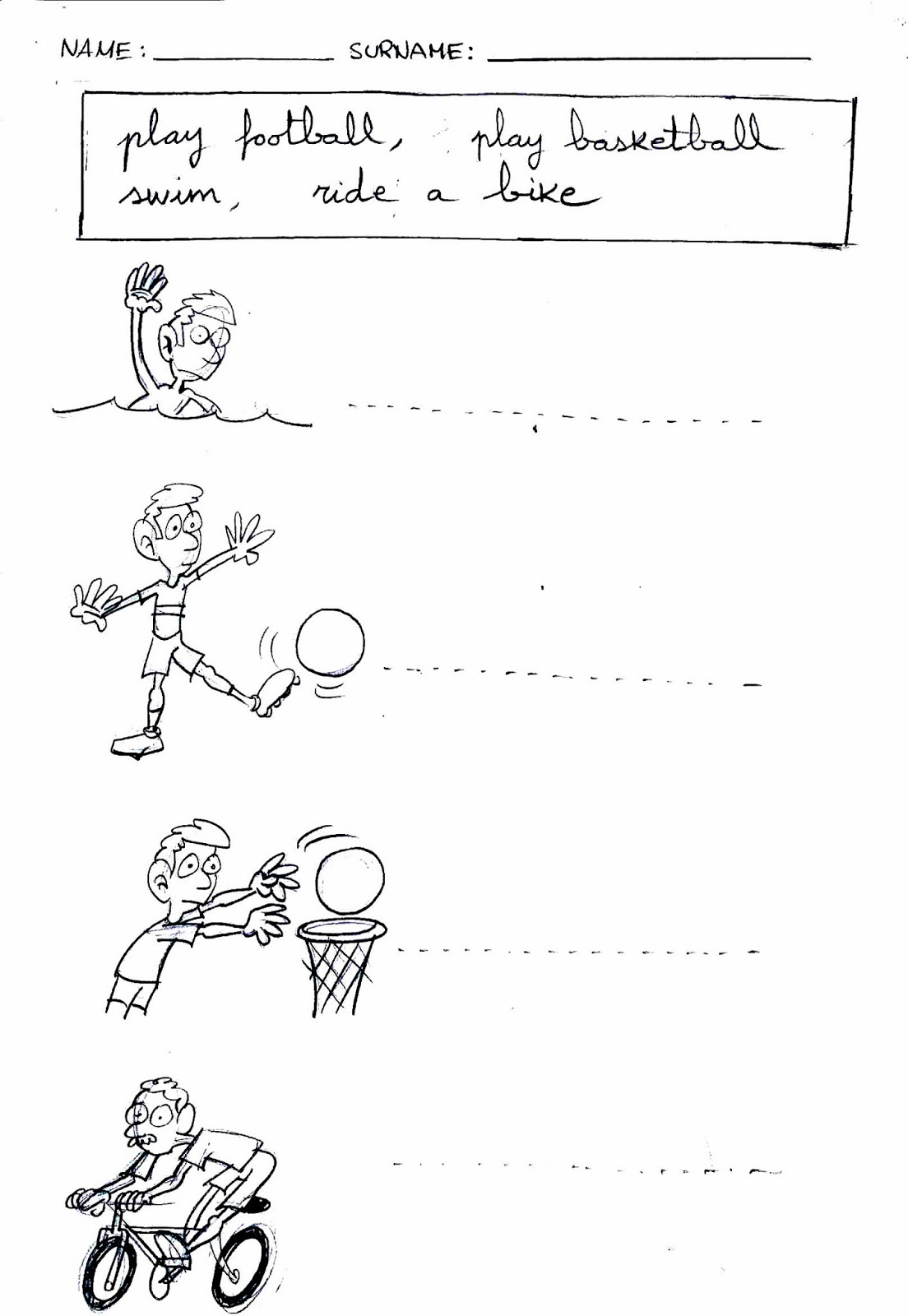 Worksheet Winter Sports