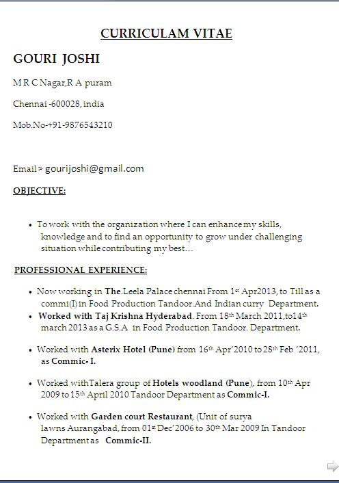head cook resume sample format in word free dowload
