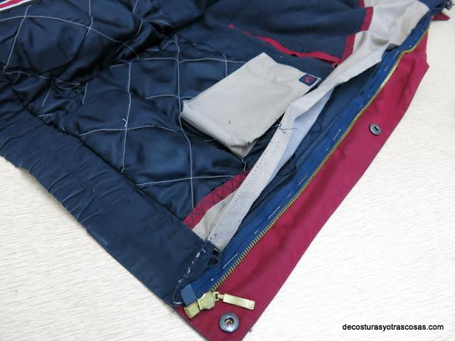 como coser una cremallera separable