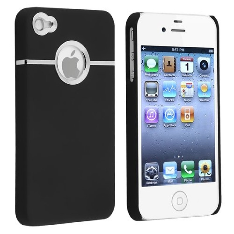 Buy Deluxe Black Case Cover W/chrome for Iphone 4 4G 4S AT&T Verizon Sprint Just in $1.15