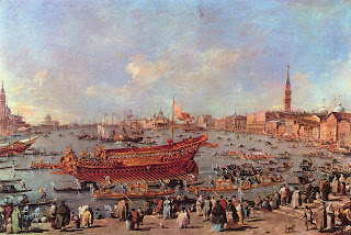 Guardi's painting of the Doge's state barge, the Bucintoro, near  the Riva di Sant'Elena, which is housed at the Louvre in Paris