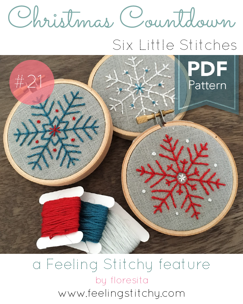 Christmas Countdown 21 - Six Little Stitches pattern set, featured on Feeling Stitchy by floresita