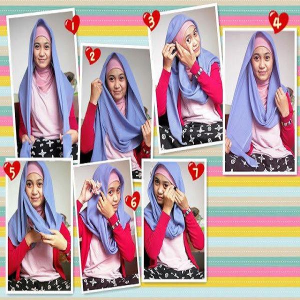 model jilbab segi empat terbaru pesta simpel satin untuk kerja sekolah wajah bulat dan cara memakainya