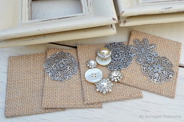 cover cardboard with burlap for displaying vintage jewelry and buttons.