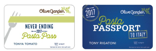 olive garden 39 s 2017 never ending pasta pass goes on sale at 2 pm est on september 14 2017