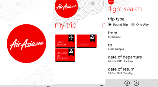 Aplikasi AirAsia Windows Phone