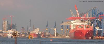 Hafen und Elbphilharmonie, Blick aus Finkenwerder