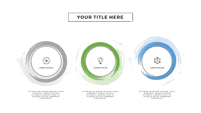 Infographic 3 Circular Brush Style Banners in PowerPoint Presentation with Different Colors
